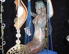 Sirène en grès cuisson raku
